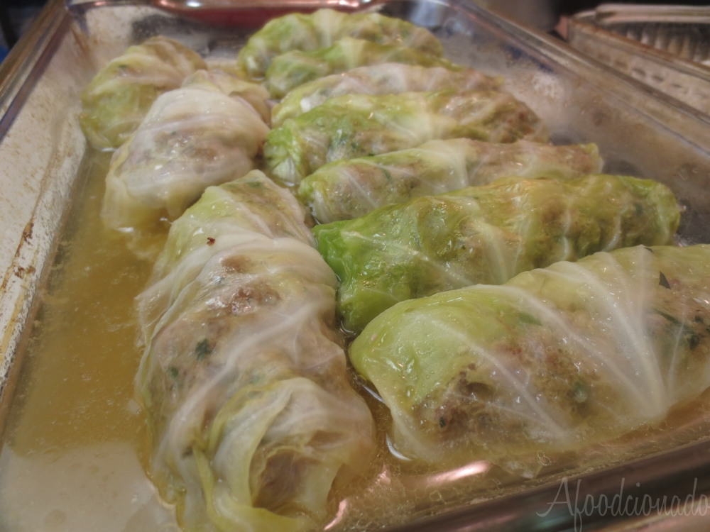 Finished dish of cabbage rolls!