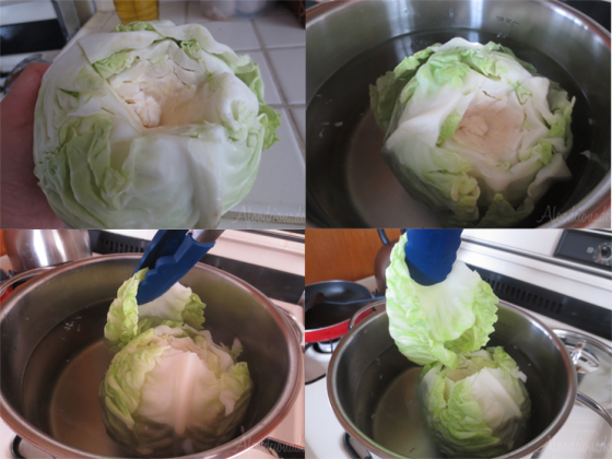 Prepping the Cabbage leaves!